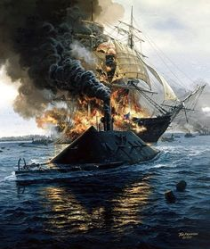 """""""The Destruction of the Frigate USS Congress by the Ironclad C.S.S. Virginia,March 8th 1862""""...By Tom Freeman."""