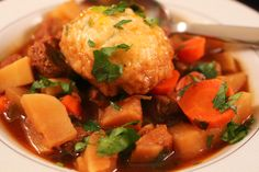 ... Beef Stew with Turnips and Parnsips cheddar herb dumplings plated