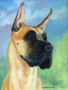 Great Dane Dog Original Oil Painting by Lyn Hamer by DogArtByLyn, $100.00