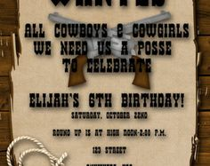 Cowboy Birthday Party Invitation by mjpaperie on Etsy 1500