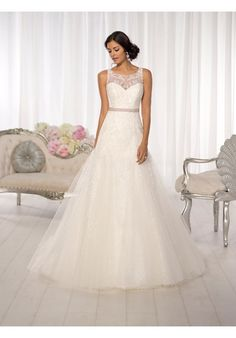 Slim, A-line wedding gown with stunning illusion lace neckline and back // D1615 from Essence of Australia