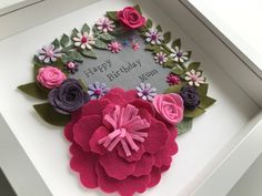 Felt flowers frame | Birthday gift | Anniversary | Wedding gift | by monkeymoocards on Etsy