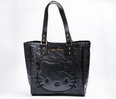 Hello Kitty Embossed Tote Bag: Black