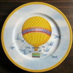 Whimsical Yellow Hot Air Balloon Blue Birds Sky Gold Edge Plate Japan