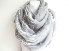Boho Gray BIRD SCARF Infinity scarf by myfashioncreations, $22.00