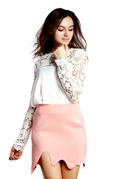 White Blouse with Lace Panel, not too crazy about the skirt but the lacy shirt is awesome! lace is in, trends I love, clothing, clothing options