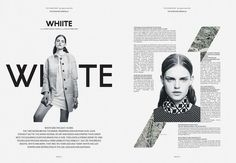 Black and white double page spread. This is very minimalistic, and captures the eye of an audience member.