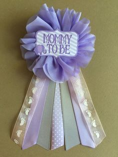 Purple Elephant Baby Shower Mommy-to-be Flower Ribbon by afalasca