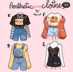Cute Casual Outfits, Edgy Outfits, Anime Outfits, Retro Outfits, Grunge Outfits, Fashion Design Drawings, Fashion Sketches, Drawing Fashion, Aesthetic Fashion