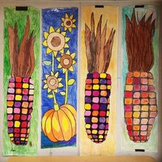Fall Festival Art. Chisel tip Sharpie marker drawings on butcher paper, colored with crayons. LOTS of crayons. 6'ft tall. Great CHEAP way to make decorations. #fallfestival