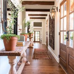 Loved how unique the entry was in this week's #fixerupper . It was originally three seperate dark hallways with different elevations and now it's one clean walkway off the main entry. These entry tables by @clintharpofficial were a perfect fit! @hgtv