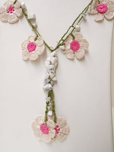 Lace (Turkish Oya) Necklace With Flowers and White Stones
