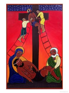 Jesus is Taken from the Cross, No. 13 in 14 Stations of the Cross Series, 2002 by Laura James