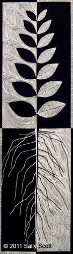 Axis Mundi Reflected art quilt by Sally Scott