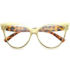 • Description • Measurements • A distinct bold version of 50s-inspired cat eye glasses with high pointed corners features stylish and colorful animal print patterns. You'll find they can work with many outfits, from the very modern to the utterly vintage. Made with a plastic based frame, metal hinges and clear polycarbonate UV protected lenses. • Lens Width: 48mm Nose Bridge: 22mm Lens Height: 48mm Total Width: 137mm