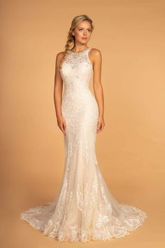 GLS by Gloria - GL2597 Embellished Lace Halter Trumpet Gown – Couture Candy Beaded Wedding Gowns, Long Wedding Dresses, Formal Evening Dresses, Bridal Gowns, Formal Prom, Modest Wedding, Lace Weddings, Gown Wedding, Bride Dresses