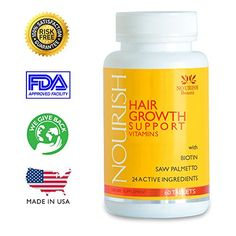 NOURISH Vitamins for Hair Growth support -100% GUARANTEED! Biotin, Saw Palmetto, plus 22 volumizing ingredients to help make hair grow faster. A NATURAL DHT BLOCKER and regrowth treatment formulated especially for ALOPECIA and thinning hair in men and women. More active ingredients than Viviscal. Best supplement to help stop hair loss. Plus *FREE* HAIR GROWTH GUIDE! Sells Out Fast! NOURISH Beauté http://www.amazon.com/dp/B00IID8SBY/ref=cm_sw_r_pi_dp_mvsxub08S2DNB
