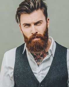 Levi Stocke - full thick dark red beard mustache beards bearded man men mens' style clothing dapper fashion tattooed tattoos throat neck redhead ginger auburn #beardsforever