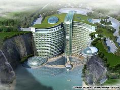 InterContinental being built in an abandoned rock quarry outside Shanghai. allurgroup