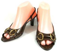 Tahari Shoes Womens Size 7 M Brown Patent Leather Slingback Heels #Tahari #Slingbacks
