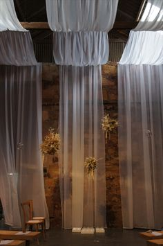 Ceremony backdrops don't get much more beautiful. We loved installing these dried flower clouds in the ceremony room, for N and J Wedding Veils, Wedding Flowers, Wedding Columns, Narcissus Flower, Wedding Decorations, Wedding Ideas, Amazing Decor, Ceremony Backdrop, Canopies