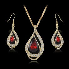 Top Brand Hot Gold Plated Water Drop Shape Crystal Necklace Earring Set Elegant Women Dress Jewelry Set Factory Price