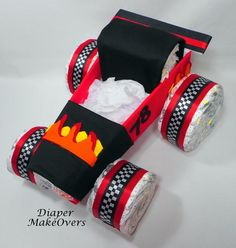 Race Car Diaper Cake - Diaper Cake - Car Diaper Cake - Baby Shower Centerpiece - Baby Gift - Baby S Baby Shower Cakes For Boys, Boy Baby Shower Themes, Baby Shower Diapers, Baby Boy Shower, Baby Shower Gifts, Baby Gifts, Diaper Shower, Baby Presents, Race Car Cakes