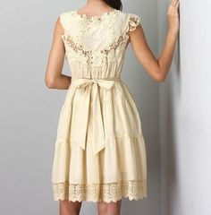 Ryu Beige Crochet Lace Tie Sash Dress Size Small