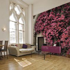 Fototapeta z różowym bluszczem - pięknie podkreśla charakter wnętrza.