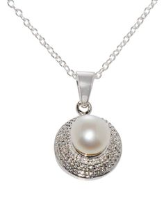 """925 Silver Fresh Water Pearl & Diamond Necklace, 18"""" chain"""