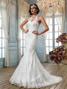 Vestido de Boda - Clásico y Atemporal/Elegante y Lujoso - Corte Sirena - Escote en V/Halter - Tribunal (Tul) | LightInTheBox