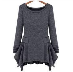 Ladylike Scoop Neck Solid Color Belt Waist Irregular Design Long Sleeves Women's DressLong Sleeve Dresses | RoseGal.com