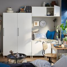IKEA PLATSA system offers different frames, doors and furnishings, so you can create solutions for all your storage needs. Ikea Kids Bedroom, Ikea Living Room, Small Space Living, Small Spaces, Armoire Ikea, Table Ikea, Ikea Wardrobe, Modular Storage, Multipurpose Room