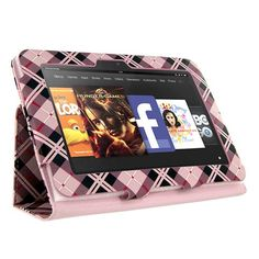 KIQ TM Pink Checkered Design Portfolio Leather Case Cover Skin for Amazon Kindle Fire HD 7″ built-in Stand
