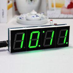 DIY 4 Digit LED Electronic Clock Kit Temperature Light Control Version