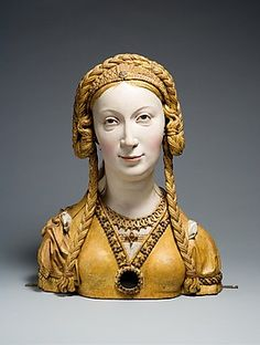 """Unknown female Saint. This particular look, took some time and a fair amount of hair to accomplish. The bound the braids with pieces of leather and stiched those braids intoa mesh cap covering the head.""""Reliquary Bust of a Female Saint 