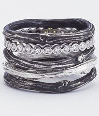 It All Stacks Up in Silver and Diamonds Ring from Barara Michelle Jacobs- handmade in NYC