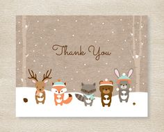 Winter Woodland Forest Animals Thank You by LittlePrintsParties