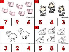 Free Count and clip farm animal cards. 12 counting cards with answer recording sheet. Appropriate for PreK and Kindergarten.