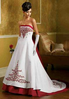 Wedding dress #3 Beautiful Red trim & red design dress with gloves as a added touch ♡