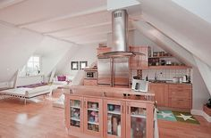 Wooden Kitchen for Attic Apartment Decoration Ideas