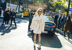 Pernille in Oversized White Coat