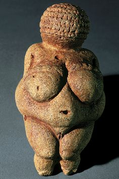 "Venus or Woman of Willendorf.  4 3/8"" high.  25,000 – 20,000 BCE. Art 6 Lecture 6"