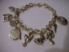 """UP movie theme Charm Bracelet  Silver plated   7 1/2"""" adjustable with lobster claw clasp by Suzq Chic original - great gift only $10"""