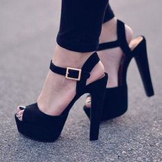 Black Suede peep toe, ankle strap, platform heels and gold buckle