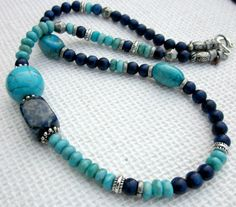 Beaded GEMSTONE Necklace TURQUOISE and Dark BLUE by prayerfeather