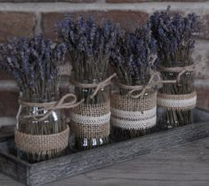 Levandulová dekorace Table Arrangements, Table Centerpieces, Jar Crafts, Diy And Crafts, Lavender Wedding Invitations, Creative Box, House In The Woods, Birthday Presents, Fall Decor