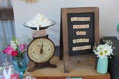 Table Rustic Vingtage Engagement Party Dessert Table props and accent pieces