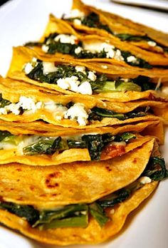 quesadillas with greens & feta ~ yum!