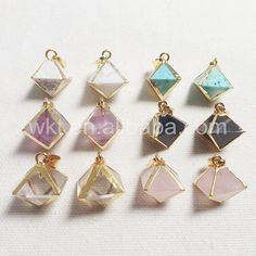 WT-P784 Special design octagon natural gemstone gold plated arround pendant,raw Amethyst turquoise  fashion…